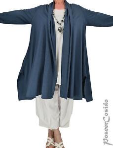 PoCo LAGENLOOK Shirt Jacke Cardigan Mantel 44 46 48 50 52 L-XL-XXL mid-blau