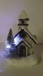 New Lighted Winter Lodge House With Tree 2422880 Battery Operated