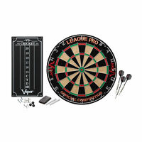 Viper League Pro Sisal/Bristle Steel Tip Dartboard with Staple-Free Bullseye ...