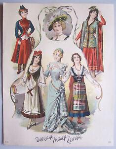 Farblithografie Deutsche Moden Zeitung 1900 Mode Fashion Print Deko Vintage !(14
