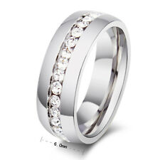 CZ Couple Stainless Steel Wedding Ring Valentine's Day Silver Band  Sz4-15