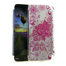 For Motorola Moto G4 / G4 PLUS - Clear TPU Rubber Case Cover Pink Lace Flowers