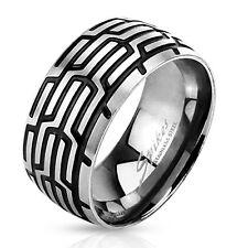 Spikes Herren Edelstahl Ring Silber Schwarz Reifen Profil Band Bandring 3519