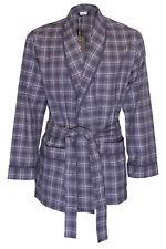 NWT ZIMMERLI Switzerland ROBE grey check cotton belt long jacket luxury L