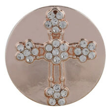 ROSE GOLD CROSS Snap Chunk 18 20mm Interchangeable Jewelry Fits Ginger Snaps