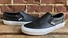 VANS 721278 Unisex Classic Slip-On Perf Black Leather Shoes Mens 7.5 / Women's 9