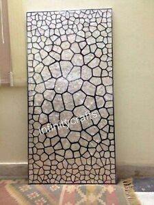 30 x 72 Inches Marble Coffee Table Top Geometric Pattern Inlaid Center table