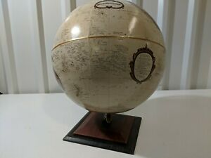 "Replogle 12"" Antique Colored Globe with Cherry Finish Base Long/Lat Open Box"