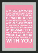 Whole New World Framed Lyrics - Pink - A3 Black Frame - Great Valentine's Gift