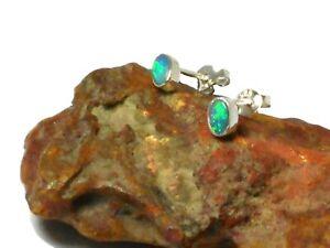 Small Oval Australian Opal  Sterling Silver 925 Stud Earrings - 3 x 5  mm