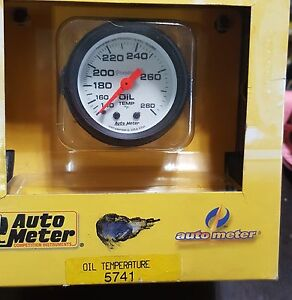 "Auto Meter 5741 Phantom Mechanical Oil Temperature Gauge 2 1/16 "" NOS"