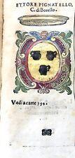 1586 ARALDICA STEMMA ETTORE PIGNATELLI Conte di Borrello Regno Napoli