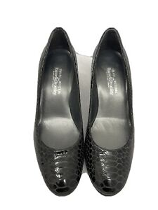 Stuart Weitzman Russell Bromley Black Patent Croc Style Leather Court Shoes 7.5
