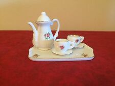 Minature Teapot Set Tray Cups and Saucers Teapot and Lid Seven Pieces Total Rose