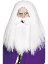 MAGHI Parrucca Set Bianco MERLINO SILENTE accessorio per Costume NUOVO