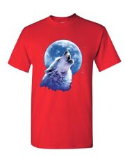 Call of the Wild T-Shirt Lone Wolf Howling at the Moon Wildlife Mens Tee Shirt