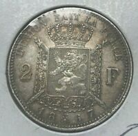 1867 Belgium 2 Francs - Des Belges - Scarce Silver - With Cross on Crown