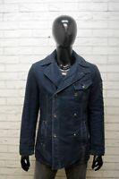 Giacca Uomo Gas Taglia L Blazer Doppiopetto Blu Cappotto Imbottito Jacket Man