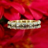 1.50 Ct Baguette Cut Diamond Half Eternity Wedding Band Ring 14k Yellow Gold Fn