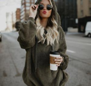 Women Plus Size Warm Winter Fluffy Fur Sweatshirt Hoodie Jumper Hooded Pullover