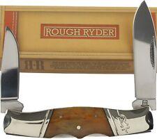 Rough Rider Amber Smooth Bone Double Lockback Pocket Knife RR1897
