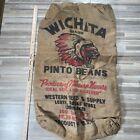Vintage ~ Burlap Bag / Sack ~ WICHITA BRAND NATIVE AMERICAN ~ 100 # Pinto Beans