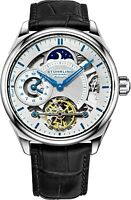 Stuhrling Men's Skeleton Dual Time Silver Case AM PM Blue Leather Strap Watch