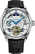 Stuhrling 943a 01 Dual Time Am PM ATUTOMATIC Skeleton Black Leather Mens Watch