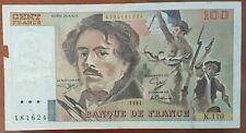 Billet 100 francs Eugène DELACROIX 1991 FRANCE  K.170 (cf photo)