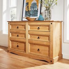Chest of Drawers Pine 6 Drawer Solid Pine Mexican Corona Wax Finish Sideboard