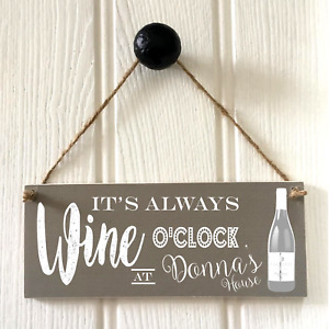 Wine O'Clock Kitchen Sign New Home House Warming Drinks Plaque Drinks