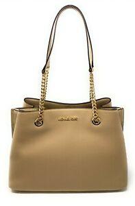 Michael Kors Teagen Large Long Drop Chain Strap Satchel Leather Shoulder Bag