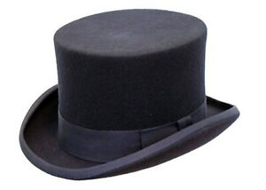 Gents Wedding Derby Event 100% Wool Hand Made Satin Lined Navy Felt Top Hat