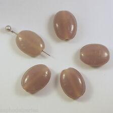 6 perles de verre artisanal mauve 1,90 x 1,40 cm environ
