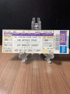 SAN ANTONIO SPURS VS LOS ANGELES LAKERS TICKET UNUSED NOV 20 2002