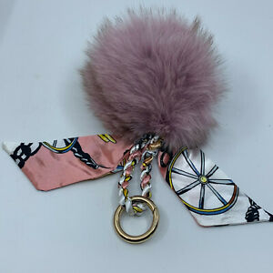 1 Pom Pom Faux Fur Puff Purse Bag Backpack Key Chain Fob & Scarf Soft Plush NEW