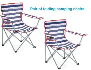 Pair of Camping Chairs 2 Folding Outdoor Seats Blue Striped with Bag, Cup Holder