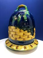 VTG Majolica Cheese Dome & Matching Plate Set - Weaved Basket & Floral Design