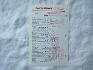 Case David Brown 970 1070 1090 1170 tractor lubrication guide chart