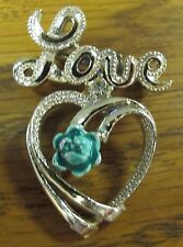 Gerry's Love Dangling Heart Brooch with Green Flower