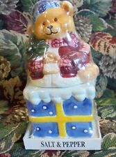 Vintage BEAR GIFT  Christmas Salt and Pepper Shakers NEVER OPENED