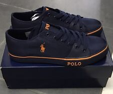 Mens Ralph Lauren Trainers Shoes Cantor Blue Orange New In Box RRP £85 Size 9