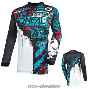 2021 O'Neal Élément Jersey Ride Bleu Rouge Tricot MX Dh MTB BMX Motocross Trail