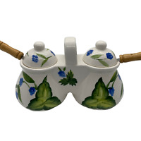 Vintage Hand-Painted Double Condiment Set With Spoons/ Jam and Jelly Set