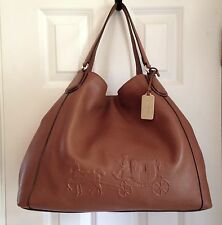COACH Embossed Leather Horse & Carriage Large Edie Hand Bag Tote 33727 Saddle