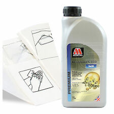 Engine Oil Top Up 1 LITRE Millers XF Longlife ECO 5w-30 1L +Gloves,Wipes,Funnel