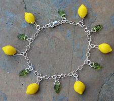 Lemon Grove Charm Bracelet -Yellow lemons & green leaves, sterling silver chain