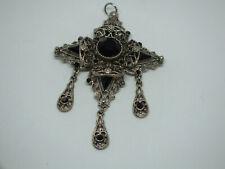 "Stunning Pendant Silver Tone Black Rhinestones Ornate 3 x 2"" WOW"