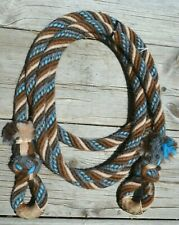 "5/8"" Alpaca Hair Loop/Trail Reins 6 Str x 8 ft- Soft Lay -Browns /Tan /Turquoise"