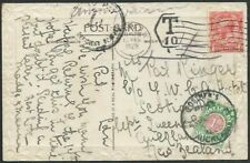 NEW ZEALAND 1928 postcard ex UK taxed, NZ 1d postage due added.............60283